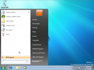 Desktop of Windows 7 with Start Menu